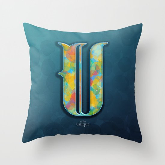 U is for Unique Throw Pillow