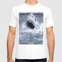 Shark Attacks! ( by Luca Conca for Passenger Press) Mens Fitted Tee White SMALL