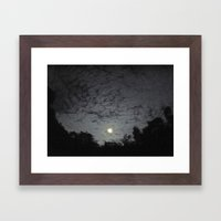 Supermoon With Clouds Framed Art Print