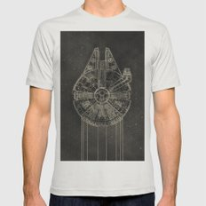 Millennium Falcon Mens Fitted Tee Silver SMALL