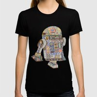 R2D2 Crashed Into A Flow… Womens Fitted Tee Black SMALL