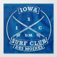 Iowa Surf Club (In White) Canvas Print