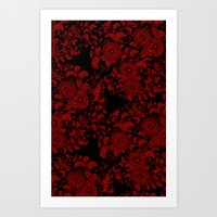 Chrysanthemums Red On Bl… Art Print