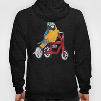 Parrot macaw on red bike Hoody