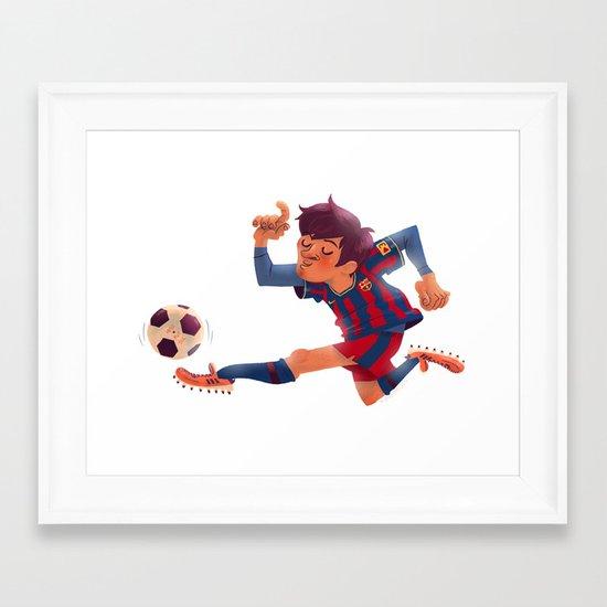 Lionel Messi, Barcelona Jersey Framed Art Print