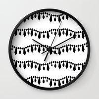 Vintage Beads Black On W… Wall Clock