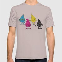 Four Ink Drops Mens Fitted Tee Cinder SMALL