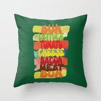 Funny Burger Typography Art  Throw Pillow