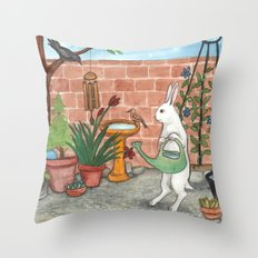 Rabbit's Garden Throw Pillow