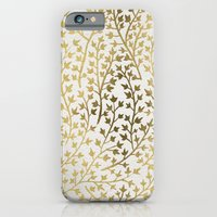 gold iPhone & iPod Cases featuring Gold Ivy by Cat Coquillette