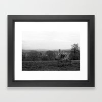 Bench over the Town Framed Art Print