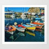 Mogan fishing boats Art Print