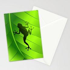 Frog Shape on Green Leaf Stationery Cards