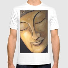 Tranquil Buddha White Mens Fitted Tee SMALL