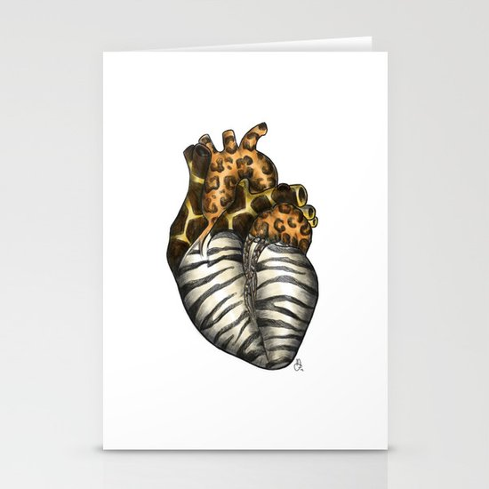 Heart gone wild - color  Stationery Card