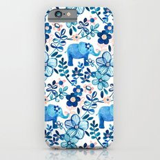 Blush Pink, White and Blue Elephant and Floral Watercolor Pattern iPhone 6 Slim Case