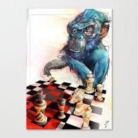 monkey chess Canvas Print