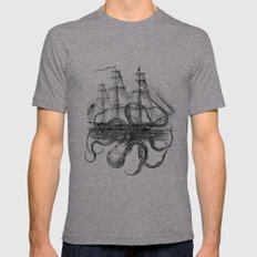 Octopus Kraken Attacking… Mens Fitted Tee Athletic Grey SMALL