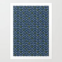 Pattern In Blue And Yell… Art Print