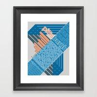 Pittsburgh Neighborhoods, rev. 2 blue/gray/coral Framed Art Print