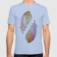 Neon feather Mens Fitted Tee Athletic Blue SMALL