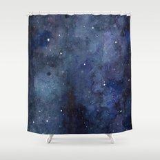 Night Sky Stars Galaxy | Watercolor Shower Curtain