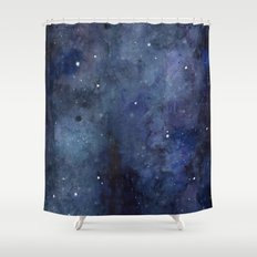 Night Sky Stars Galaxy | Watercolor Shower Curtain