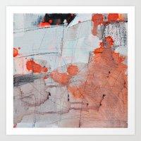 Grey Red 3 Art Print