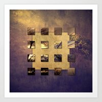 SQUARE AMBIENCE - Magic Tree - mixed-media collage Art Print