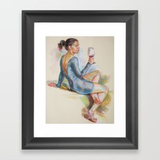 Girl with a glass of red wine Framed Art Print