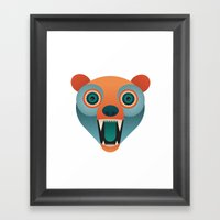 Geometric Bear Framed Art Print