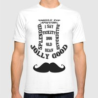 Moustache Ol' Chap! - Vintage Mens Fitted Tee White SMALL