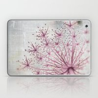 Vintage Raspberry Pink and Paris Gray Botanical Queen Anne's Lace Wildflower Laptop & iPad Skin