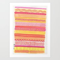Tribal#1 (Orange/Pink/Ye… Art Print