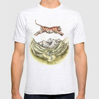 Tiger Leaping Gorge Mens Fitted Tee Ash Grey SMALL