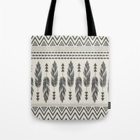 Tribal Feathers-Black & … Tote Bag