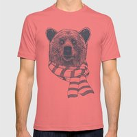 Winter Bear Drawing Mens Fitted Tee Pomegranate SMALL