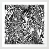 Silver Molten Metal Art Print