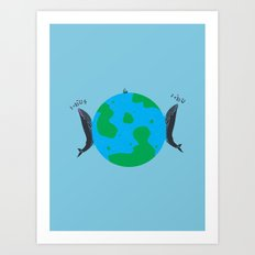 Blue Whales Love Song Art Print