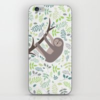 Happy Sloth with Leaves Illsutration iPhone & iPod Skin