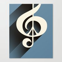 Steal Blue Retro Music & Peace Canvas Print