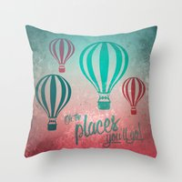 Oh, the Places You'll Go - Coral & Teal Throw Pillow