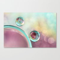Bubble Abstract with Glitter Pink and Blue Canvas Print