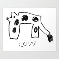 My Cow Drawing Art Print