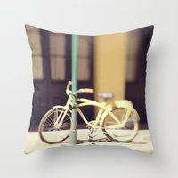 Yellow New Orleans Bicyc… Throw Pillow