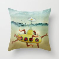 yellow submarine in an octapuses garden Throw Pillow
