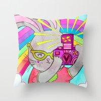 Bunny Rainbow Snapshots Throw Pillow