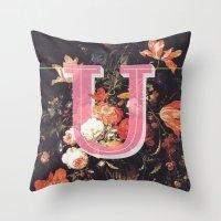 Letter U Throw Pillow