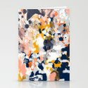 Stella - Abstract painting in modern fresh colors navy, orange, pink, cream, white, and gold Stationery Cards