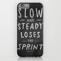 iPhone & iPod Case featuring slow and steady loses the sprint blk&wht by randy mckee